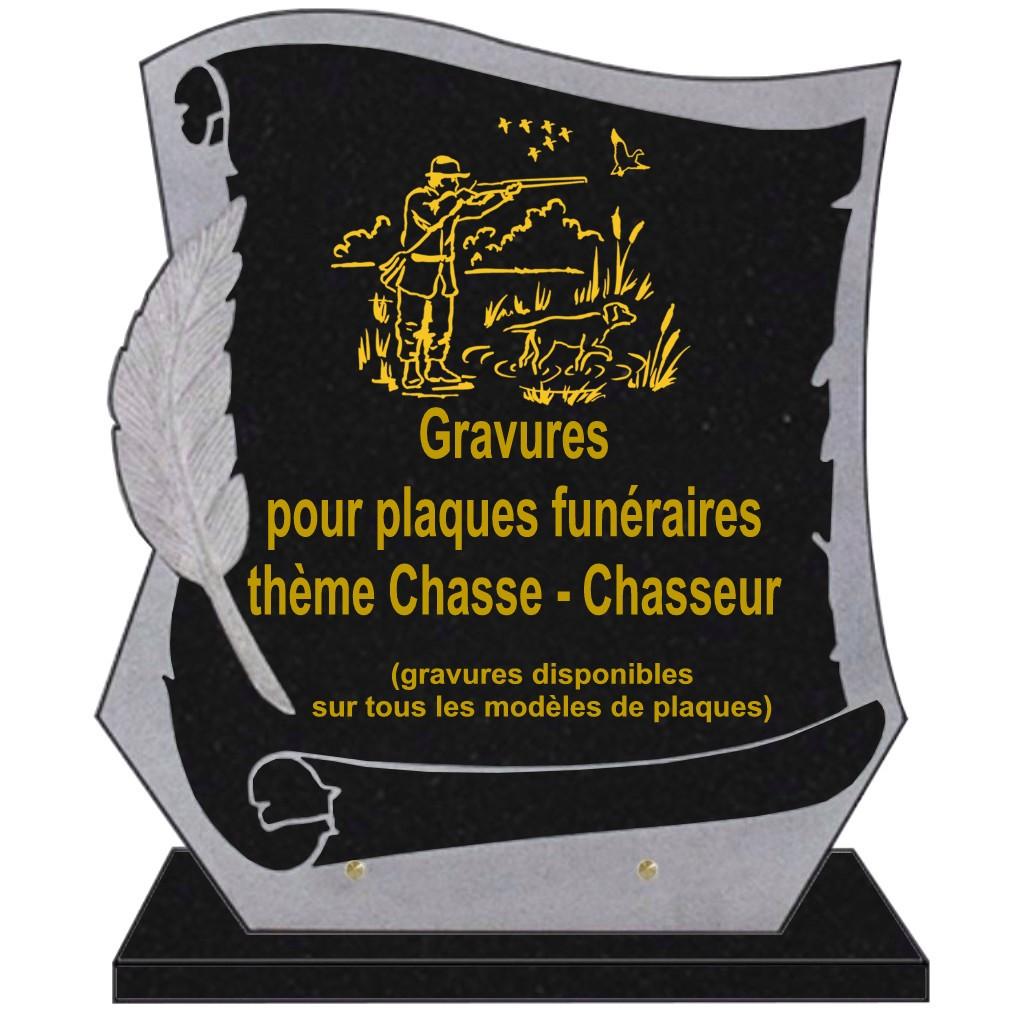 CHASSE CHASSEUR - PLAQUES FUNÉRAIRES GRANIT GRAVÉE.