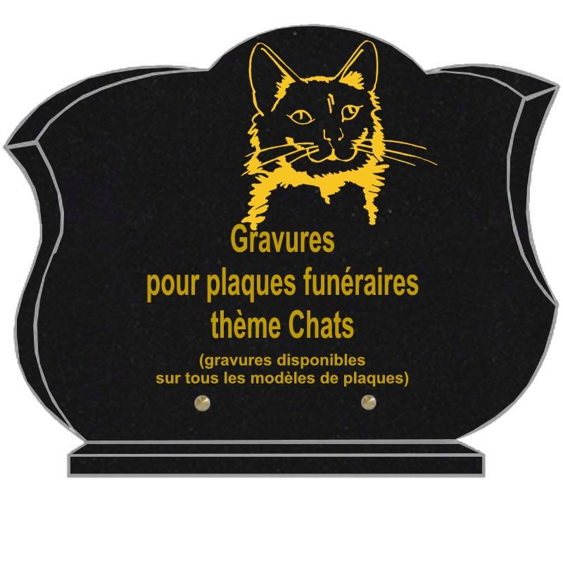 CHAT - PLAQUES FUNÉRAIRES GRANIT GRAVÉE