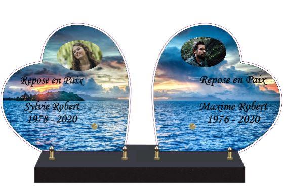 DOUBLE COEUR Plaque funéraire double coeur
