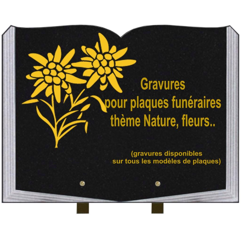 Fleurs - Plaques funéraires gravées or