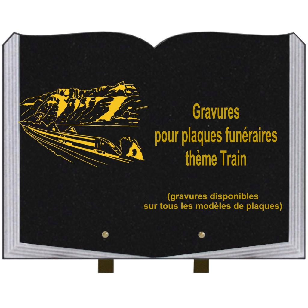 Trains - Plaques funéraires gravées or