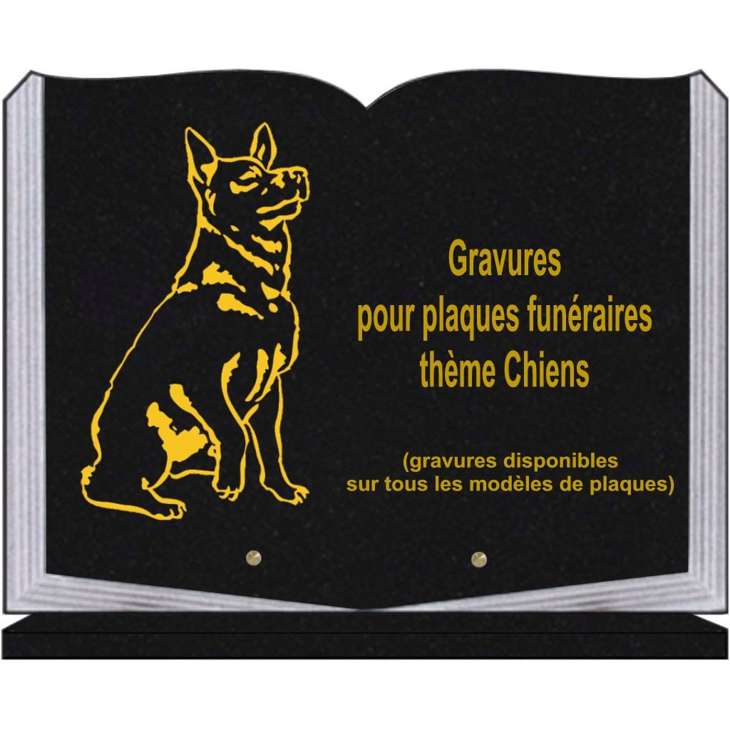CHIEN - PLAQUES FUNÉRAIRES GRAVÉES. Plaques funéraires personnalisées gravées avec image de chiens, chiots, berger allemand, setter, golden retriever, chiens de chasse.....
