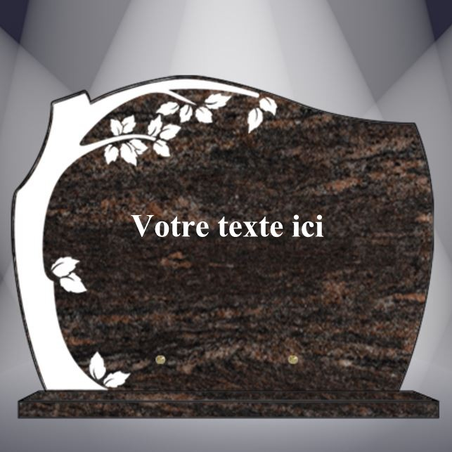 plaque funéraire granit texte cg18 40x30 socle himalaya blue